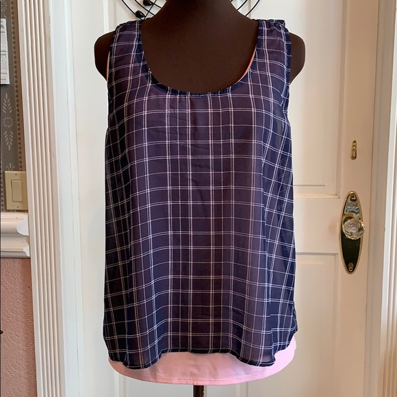 Xhilaration Tops - Layered Tank with Sheer Top Over Soft Top